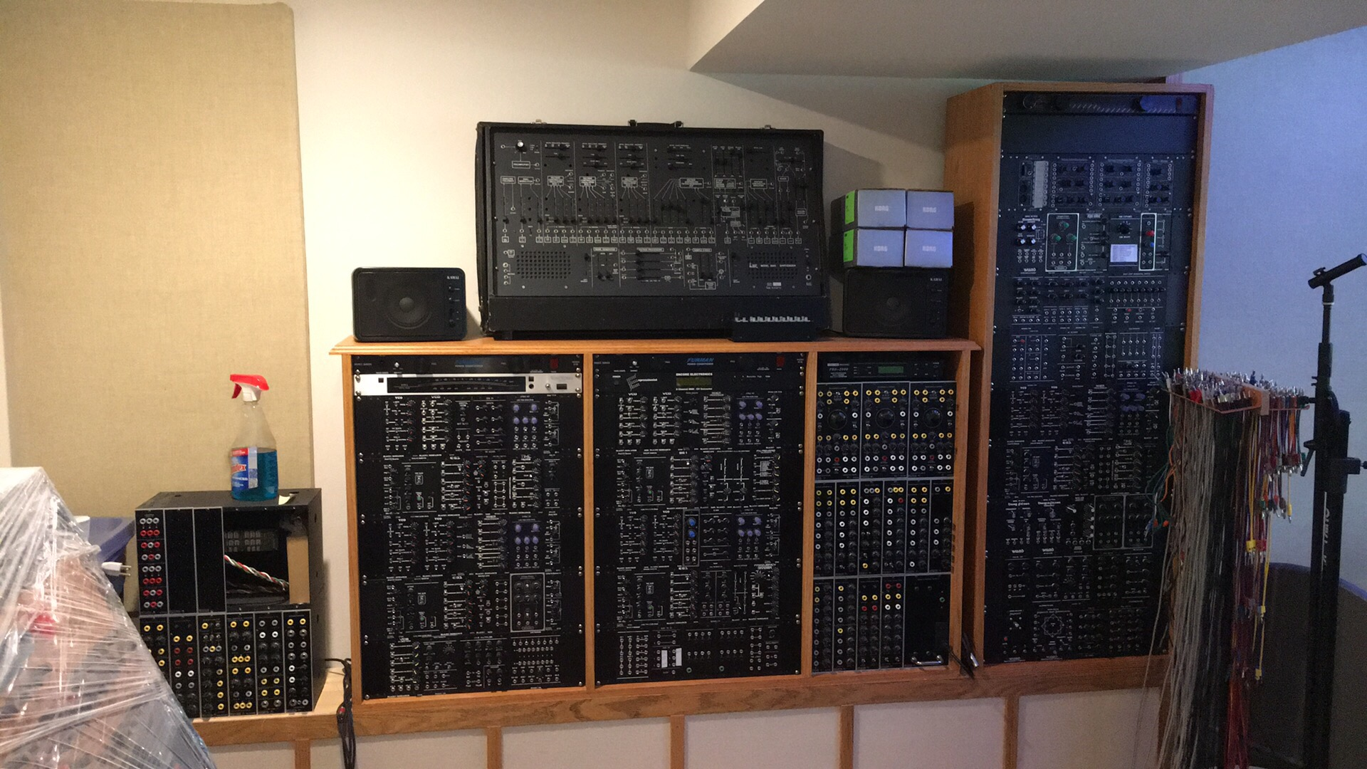The modular synthesizer took over 14 years to assemble. It includes over 100 modules from Blacet, Modcan, Paia, Doepfer, Metalbox, and several of my own creation.